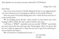 George H. W. Bush letter to Herbert Dean Spratlin, 17 Nov 1944.