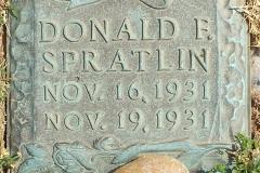 Donald F. Spratlin tablet, Evergreen Memorial Park, Athens, Clarke County, Georgia.