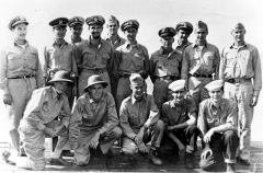 Pilots rescued by the USS Finback, abt. Sep 1944. Front row: Lt (jg) George Bush, 2nd from left. Back row: LCDR Dean Spratlin, 4th from right.