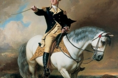 George Washington receiving a salute on the Field of Trenton,featuring Blueskin, by John Faed.