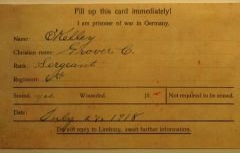 Grover O'Kelley World War I POW card (back)