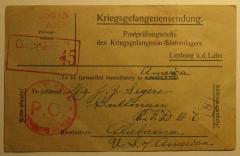Grover O'Kelley World War I POW card (front)