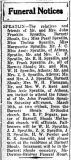 John Franklin Spratlin funeral notice, 9 Mar 1928.