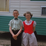 Kathleen Lucille Watne (right) and her twin, abt. 1955.