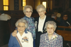 The Olson Sisters—front row, left to right: Bertelle Olson Stai, Pearl Olson Nansen; back row, left to right: Alta Olson Anderson, Mildred Olson Wetherbee; Sep 1993.