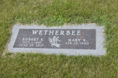 Robert K. Wetherbee tablet, Fairmount Cemetery, Fairmount, Richland County, North Dakota.